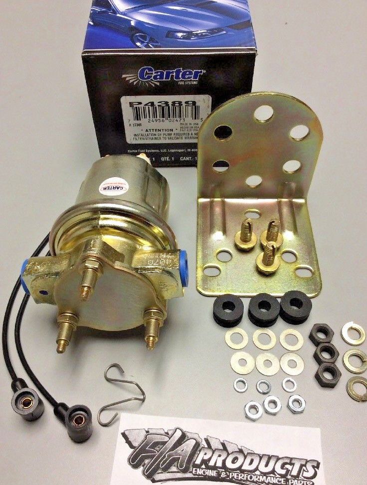 Carter Electric Inline Fuel Pump P4389 Marine 4-6 PSI 72 GPH Marine Approved