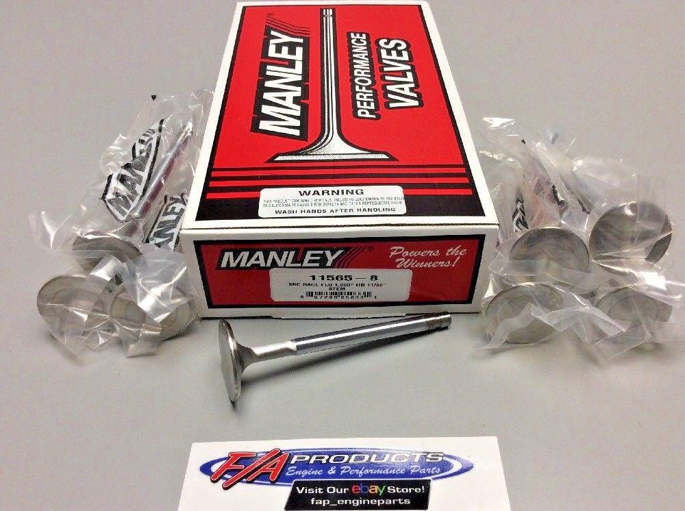 "Manley Exhaust Valve Set 11565-8; Race Flo 1.600/"" x 4.911/"" Stainless .3415/"" Stem"