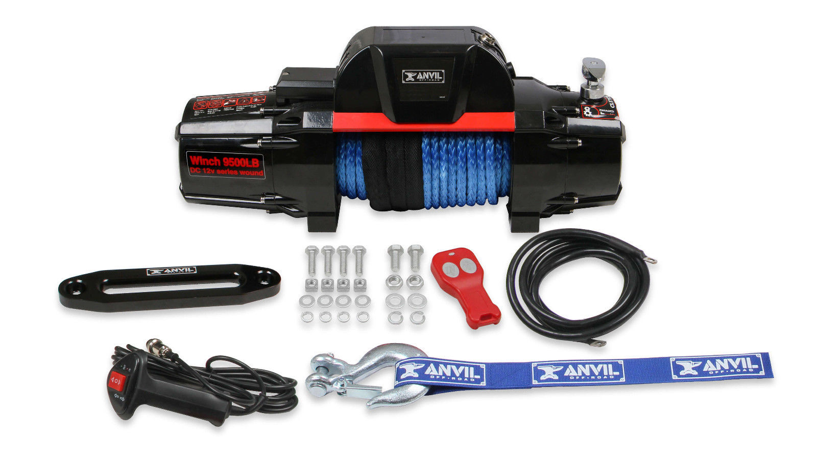 Anvil 9,500 Lbs Winch w/ Synthetic Rope & Aluminum Fairlead 9510AOR