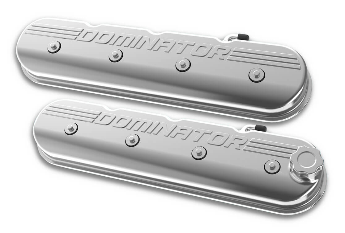 Holley Aluminum Tall LS Valve Covers DOMINATOR Logo Polished Finish 241-119