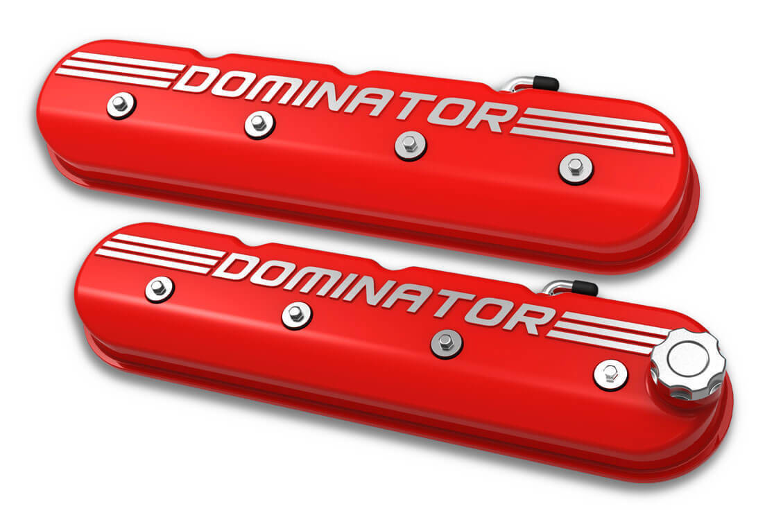Holley Aluminum Tall LS Valve Covers DOMINATOR Logo Gloss Red 241-121