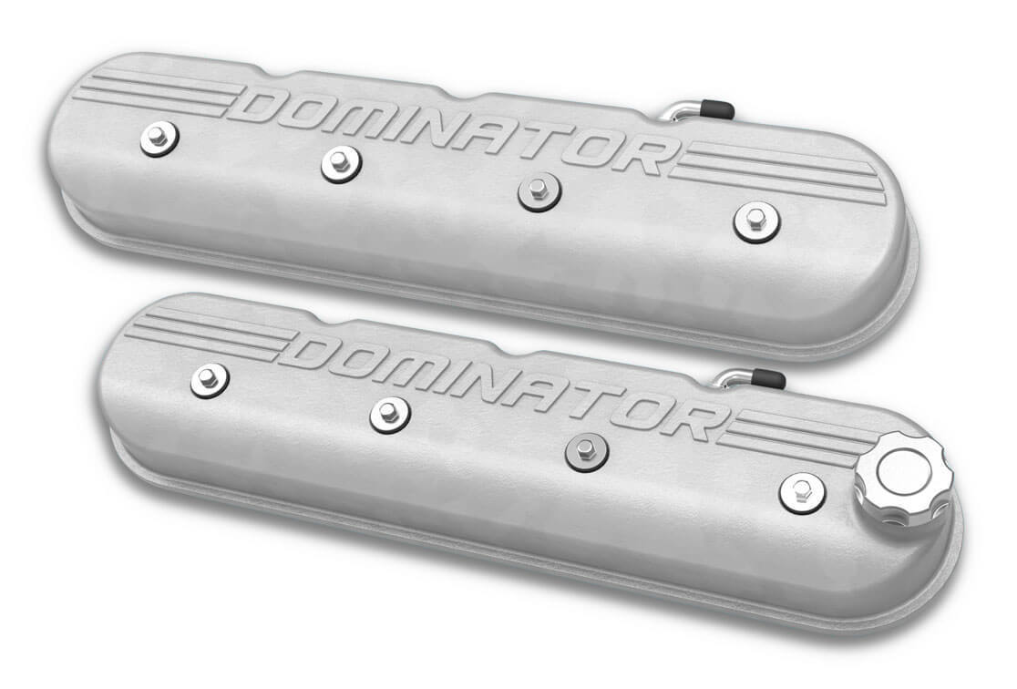 Holley Aluminum Tall LS Valve Covers DOMINATOR Logo Natural