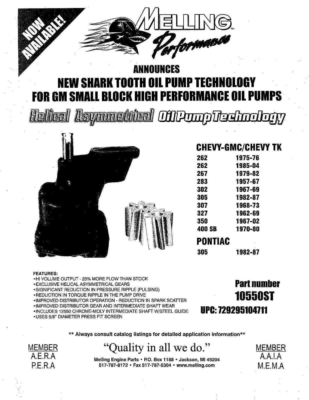 melling shark tooth oil pump 10550st sbc high volume performance small block new