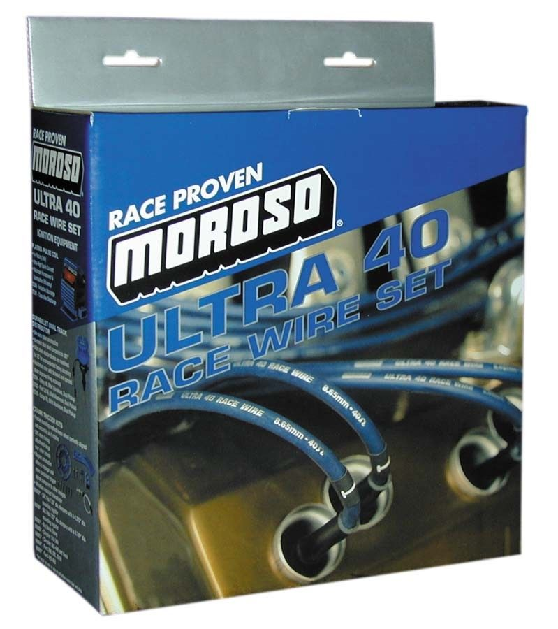 Moroso 73616 Ultra 40 Sleeved Spark Plug Wires BBC Chevy Under Header HEI Blue