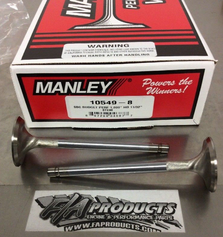 Manley 10549-8 1.600 Budget Performance Small Block Chevy Stainless Exh Valves
