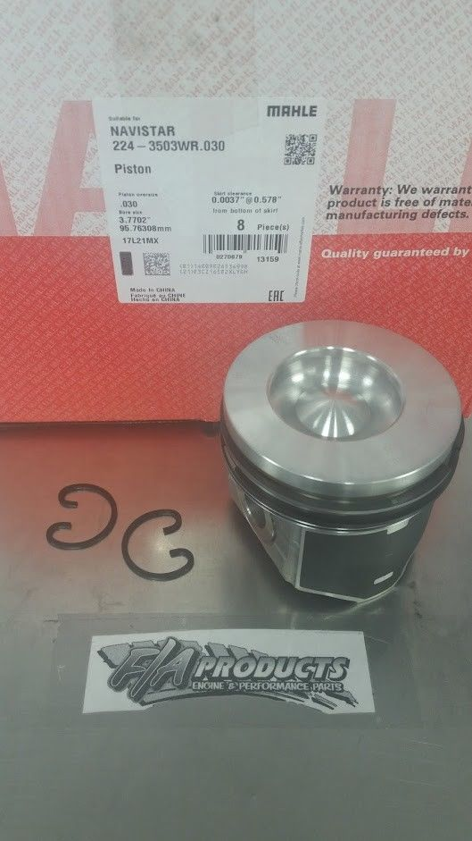 MAHLE Ford 6.0L Powerstroke Diesel +.030 Pistons & Rings Coated Skirt 6.0 04-09