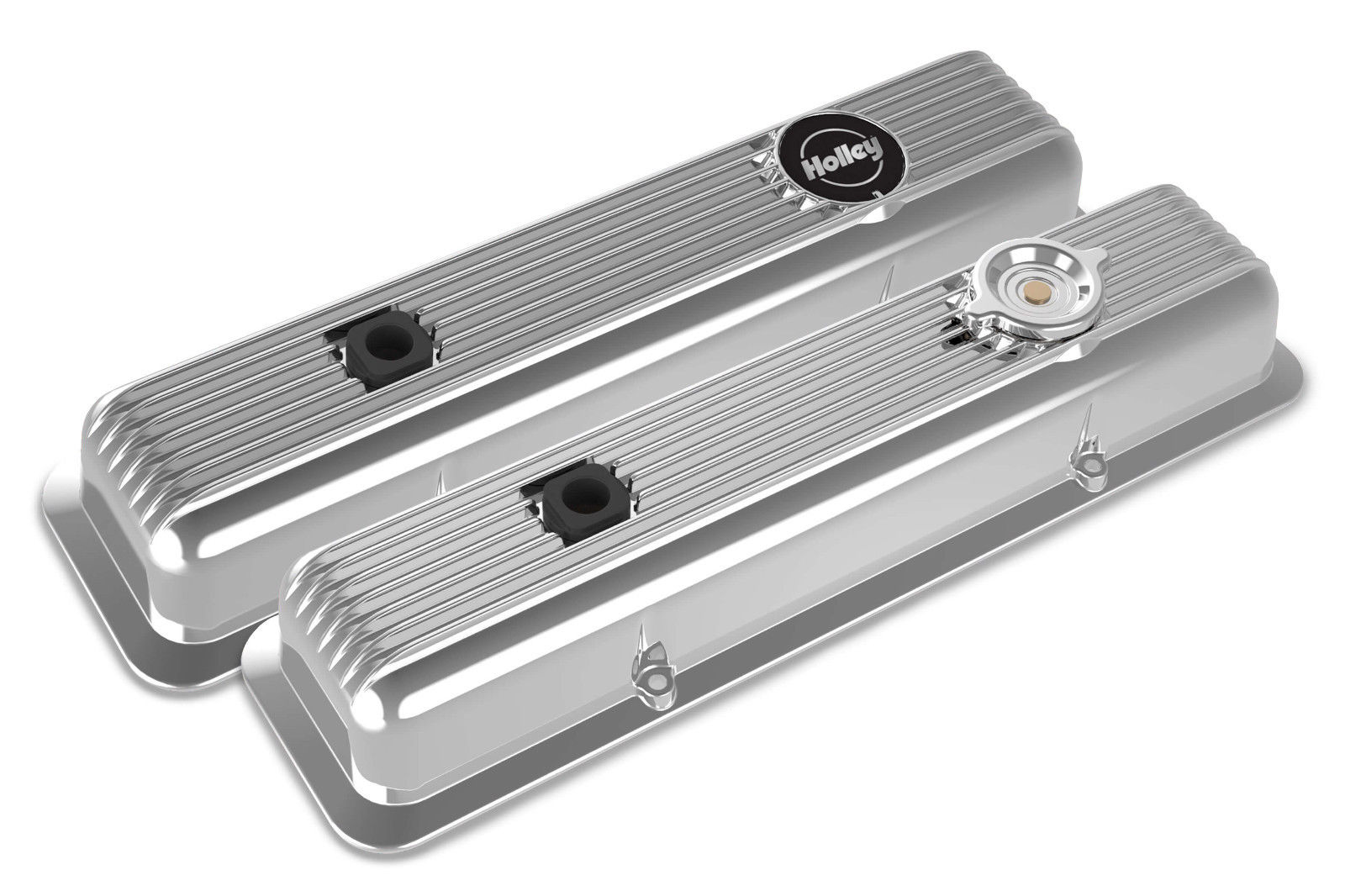 Holley 241-137 Muscle Car Series SBC Valve Covers Polished Finned Z28 L82 LT1